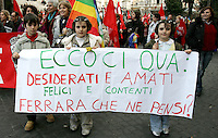Manifestazione indetta da Cgil, Cisl e Uil a Roma, 8 marzo, 2008, per il centenario della giornata internazionale della donna..Demonstration promoted by the italian Cgil, Cisl and Uil trade unions in Rome, 8 march 2008, for the hundredth anniversary of the International Woman Day..UPDATE IMAGES PRESS/Riccardo De Luca