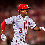 6 October 2017: Washington Nationals outfielder Michael Taylor hustles to first during the first game of the NLDS against the Chicago Cubs at Nationals Park in Washington, DC. The Cubs shut out the Nationals 3-0 to take a 1-0 lead in their best of five Postseason series. Mandatory Credit: Ed Wolfstein Photo *** RAW (NEF) Image File Available ***