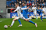 14.04.2019, PreZero Dual Arena, Sinsheim, GER, 1. FBL, TSG 1899 Hoffenheim vs. Hertha BSC Berlin, <br /> <br /> DFL REGULATIONS PROHIBIT ANY USE OF PHOTOGRAPHS AS IMAGE SEQUENCES AND/OR QUASI-VIDEO.<br /> <br /> im Bild: Maximilian Mittelstädt/ Mittelstaedt (#17, Hertha BSC Berlin) gegen Florian Grillitsch (TSG 1899 Hoffenheim #11)<br /> <br /> Foto © nordphoto / Fabisch