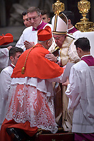 Cardinal Mario Zenari , Papal envoy to Syria, kneels beforePope Francis, during a consistory at Peter's basilica. Pope Francis has named 17 new cardinals, on November 19, 2016
