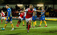 Fleetwood Town's Paddy Madden celebrates scoring his side's first goal <br /> <br /> Photographer Alex Dodd/CameraSport<br /> <br /> The EFL Sky Bet League One - Fleetwood Town v Shrewsbury Town - Tuesday 13th February 2018 - Highbury Stadium - Fleetwood<br /> <br /> World Copyright &copy; 2018 CameraSport. All rights reserved. 43 Linden Ave. Countesthorpe. Leicester. England. LE8 5PG - Tel: +44 (0) 116 277 4147 - admin@camerasport.com - www.camerasport.com