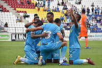 MONTERIA - COLOMBIA, 17-04-2019: Jugadores del Jaguares celebran después de anotar el primer gol de su equipo durante el partido por la fecha 16 de la Liga Águila I 2019 entre Jaguares de Córdoba F.C. y Envigado F.C. jugado en el estadio Jaraguay de la ciudad de Montería. / Players of Jaguares celebrate after scoring the first goal of their team during match for the date 16 as part Aguila League I 2019 between Jaguares de Cordoba F.C. and Envigado F.C. played at Jaraguay stadium in Monteria city. Photo: VizzorImage / Andres Felipe Lopez / Cont
