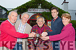 Mike the Ironman Murphy who was presented a lifetime achievement award at the Red fox Inn, Glenbeigh on Saturday night l-r: Weeshie fogarty, John Mulvihill, Mike Ironman Murphy, Timmy and Olive Mulvihill