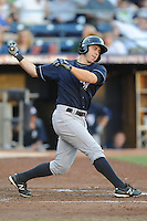 Empire State right fielder Colin Curtis #9 runs to first during a game against the Durham Bulls  at Durham Bulls Athletic Park on June 8, 2012 in Durham, North Carolina . The Yankees defeated the Bulls 3-1. (Tony Farlow/Four Seam Images).