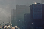 Air pollution, Seattle, 1991, State, downtown, Second Avenue, Washington, Pacific Northwest, USA, .