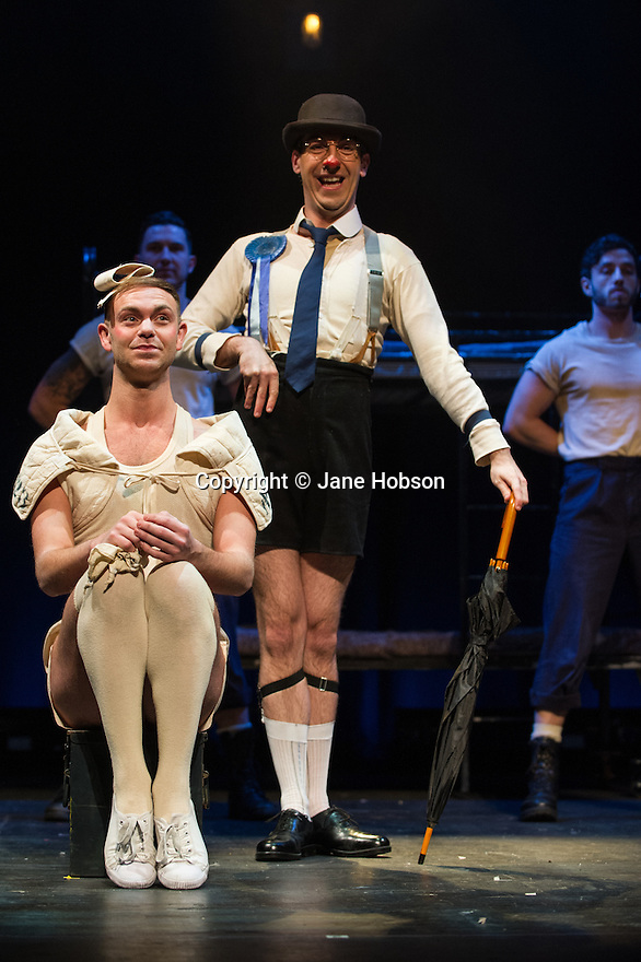 London, UK. 14.02.2014. Regan de Wynter Ltd, in association with Hilary A Williams present Gilbert and Sullivan's HMS PINAFORE, at the Hackney Empire from Friday 14th to Sunday 23rd February, prior to an 8 week UK tour. Picture shows: Will Keith (ensemble) and David McKechnie (The Rt. Hon. Sir Joseph Porter, K.C.B.). Photograph © Jane Hobson.