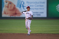 Idaho Falls Chukars shortstop Offerman Collado (0) prepares to make a throw to first base during a Pioneer League game against the Great Falls Voyagers at Melaleuca Field on August 18, 2018 in Idaho Falls, Idaho. The Idaho Falls Chukars defeated the Great Falls Voyagers by a score of 6-5. (Zachary Lucy/Four Seam Images)