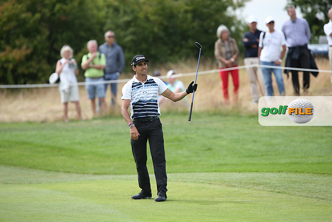 Rafa Cabrera-Bello (ESP) hits a loose shot to the 7th where his double strike chip to the pin will lead to the only dropped shot and the losing the outright lead during Round Two of the BMW International Open 2014 from Golf Club Gut Lärchenhof, Pulheim, Köln, Germany. Picture:  David Lloyd / www.golffile.ie