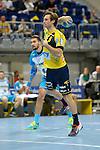 GER - Mannheim, Germany, September 23: During the DKB Handball Bundesliga match between Rhein-Neckar Loewen (yellow) and TVB 1898 Stuttgart (white) on September 23, 2015 at SAP Arena in Mannheim, Germany. Final score 31-20 (19-8) .  Uwe Gensheimer #3 of Rhein-Neckar Loewen<br /> <br /> Foto &copy; PIX-Sportfotos *** Foto ist honorarpflichtig! *** Auf Anfrage in hoeherer Qualitaet/Aufloesung. Belegexemplar erbeten. Veroeffentlichung ausschliesslich fuer journalistisch-publizistische Zwecke. For editorial use only.
