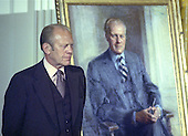 Former United States President Gerald R. Ford poses next to a painting of himself during the ceremony where the painting was unveiled in the East Room of the White House in Washington, DC on August 4, 1980. The paintings of him and former first lady Betty Ford will be on permanent display at the White House along with those of other US Presidents and first ladys.  <br /> Credit: Benjamin E. &quot;Gene&quot; Forte / CNP