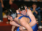 Collin Toney and Marc Giordano wrestle at the 171 weight class during the NY State Wrestling Championships at Blue Cross Arena on March 8, 2008 in Rochester, New York.  (Copyright Mike Janes Photography)