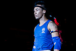Lui Chun Yin (Blue) of Hong Kong enters to the ring prior the male muay 63.5KG division weight bout against Sodnomdorj Sukhbold (Not in picture) of Mongolia during the East Asian Muaythai Championships 2017 at the Queen Elizabeth Stadium on 12 August 2017, in Hong Kong, China. Photo by Yu Chun Christopher Wong / Power Sport Images