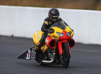 Mar 14, 2015; Gainesville, FL, USA; NHRA pro stock motorcycle rider Angelle Sampey during qualifying for the Gatornationals at Auto Plus Raceway at Gainesville. Mandatory Credit: Mark J. Rebilas-