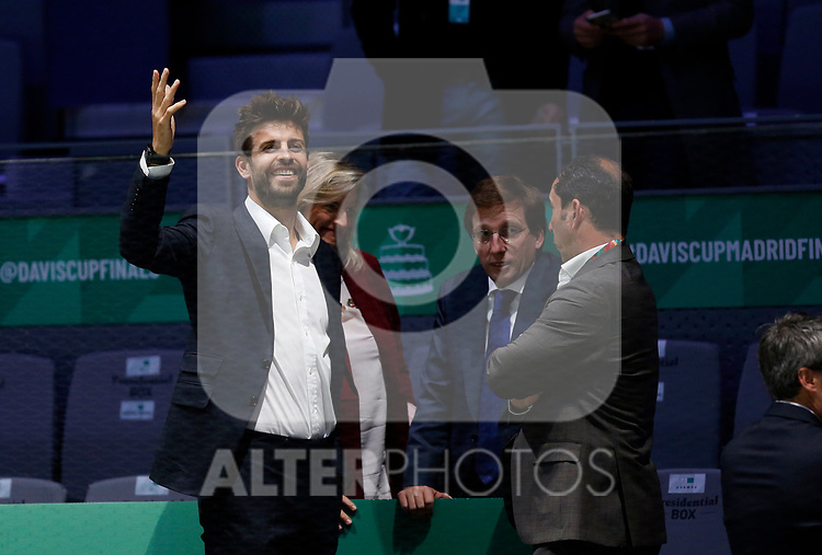 Gerard Piqué and Jose Luis Martinez-Almeida {scene} against Gerard Piqué and Jose Luis Martinez-Almeida during Day 2 of the 2019 Davis Cup at La Caja Magica on November 19, 2019 in Madrid, Spain. (ALTERPHOTOS/Manu R.B.)