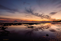 Sunset and low tide at the beach in Kenai, Alaska create a wonderful scene.
