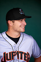 Jupiter Hammerheads Justin Bohn (3) in the dugout during a game against the Lakeland Flying Tigers on April 17, 2017 at Joker Marchant Stadium in Lakeland, Florida.  Lakeland defeated Jupiter 5-1.  (Mike Janes/Four Seam Images)