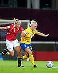 Nilla Fischer, Toril Akerhaugen, QF, Sweden-Norway, Women's EURO 2009 in Finland, 09042009, Helsinki Football Stadium.