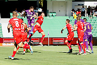 11th January 2020; HBF Park, Perth, Western Australia, Australia; A League Football, Perth Glory versus Adelaide United; Alexander Grant of the Perth Glory heads the towards goal in the box during the first half - Editorial Use