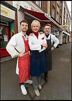 BNPS.co.uk (01202 558833)<br /> Pic: RogerArbon/BNPS<br /> <br /> Family business - Pat(80) with son Andrew(55) and grandson Fraser(24).<br /> <br /> Britain's longest-serving butcher fears achievements like hers are headed for the chop thanks to the demise of the high street.<br /> <br /> Pat Jenkins, who has recently celebrated her 80th birthday, has been working as a butcher for 60 years after joining her father Albert Musselwhite in the family business in 1958.<br /> <br /> She learnt everything she knows on the job, at a time when female butchers were completely unheard of, and still runs Mason's in Bournemouth, Dorset, with her son Andrew, 55.<br /> <br /> But Pat says the struggling high street cannot recover and local butchers are a dying breed.<br /> <br /> Their shop on Christchurch Road was once one of 11 butchers on the three-mile stretch, but now they are the only one still going.