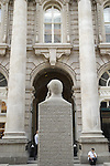 Statue of Paul Julius Reuter founder of the Reuters news service and exterior of the Royal Exchange, London