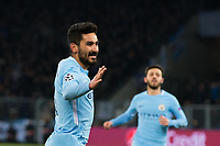 Manchester City's Ilkay Gundogan celebrates scoring the opening goal <br /> <br /> Photographer Craig Mercer/CameraSport<br /> <br /> UEFA Champions League Round of 16 First Leg - Basel v Manchester City - Tuesday 13th February 2018 - St Jakob-Park - Basel<br />  <br /> World Copyright &copy; 2018 CameraSport. All rights reserved. 43 Linden Ave. Countesthorpe. Leicester. England. LE8 5PG - Tel: +44 (0) 116 277 4147 - admin@camerasport.com - www.camerasport.com