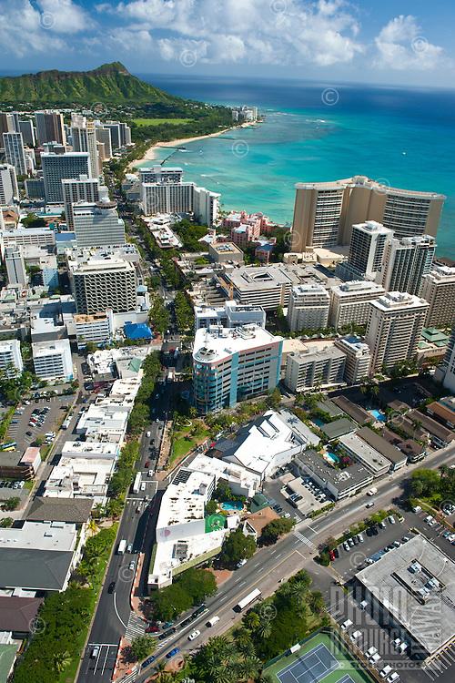 Aerial view of Waikiki and Diamond Head looking down Kalakaua Ave