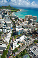 Aerial view of Waikiki and Diamond Head looking down Kalakaua Ave