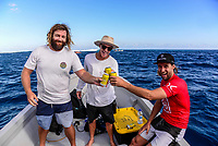 NAMOTU, Fiji (Wednesday, June 14, 2017) Matt Wilkinson (AUS) coach Glen Micro Hall (AUS) and Rip Curl Team Manager Ryan  &quot;fletch' Fletcher.   - The Outerknown Fiji Pro, Stop No. 5 on the 2017 World Surf League (WSL) Championship Tour (CT), was completed today with Matt Wilkinson (AUS) defeating tour rookie Connor O'Leary (AUS) in the 40 minute final. Conditions at Cloudbreak this morning. were near perfect with sets in the 6'-8' range and light winds. With his win today Wilkinson jumps to the top of the world tour rankings after all of the top seeds were eliminated early in the event.<br />  Location:      Tavarua/Namotu, Fiji<br /> Event window:   June 4 - 16, 2017<br /> Today's call:<br />  Finals <br /> Conditions:         5 - 7 foot 1.5 - 2 metre)<br /> <br /> Photo: joliphotos.com
