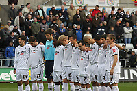 Pictured: Swansea City Players during a one minute silence <br /> Re: Coca Cola Championship, Swansea City Football Club v Watford at the Liberty Stadium, Swansea, south Wales 09 November 2008.<br /> Picture by Dimitrios Legakis Photography (Athena Picture Agency), Swansea, 07815441513
