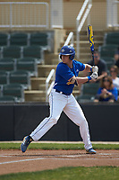 Brett Brubaker (19) of the Mars Hill Lions at bat against the Queens Royals at Intimidators Stadium on March 30, 2019 in Kannapolis, North Carolina. The Royals defeated the Bulldogs 11-6 in game one of a double-header. (Brian Westerholt/Four Seam Images)