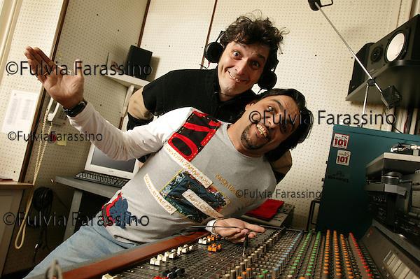 Milano 3 febbraio 2004.Paolo Cavallone e Sergio Sironi a Radio 101
