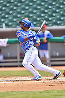 Tennessee Smokies right fielder Jeffery Baez (33) swings at a pitch during a game against the Mississippi Braves at Smokies Stadium on May 20, 2018 in Kodak, Tennessee. The Braves defeated the Smokies 7-4. (Tony Farlow/Four Seam Images)