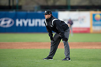 Umpire Clay Williams during a Midwest League game between the Cedar Rapids Kernels and the Kane County Cougars at Northwestern Medicine Field on April 28, 2019 in Geneva, Illinois. Cedar Rapids defeated Kane County 3-2 in game two of a doubleheader. (Zachary Lucy/Four Seam Images)