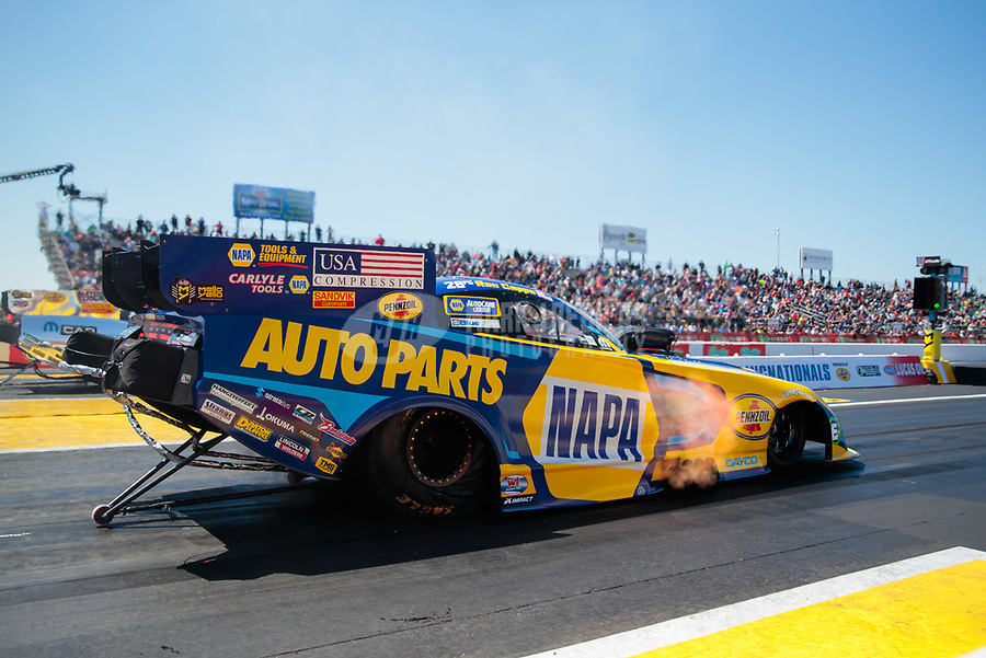 Apr 14, 2019; Baytown, TX, USA; NHRA funny car driver Ron Capps during the Springnationals at Houston Raceway Park. Mandatory Credit: Mark J. Rebilas-USA TODAY Sports