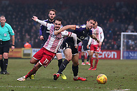 John Goddard of Stevenage and Oliver Lee of Luton Town during Stevenage vs Luton Town, Sky Bet EFL League 2 Football at the Lamex Stadium on 10th February 2018