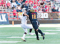 College Park, MD - SEPT 23, 2017: Maryland Terrapins linebacker Shane Cockerille (18) defens a pass to UCF Knights running back Adrian Killins Jr. (9) during game between Maryland and UCF at Capital One Field at Maryland Stadium in College Park, MD. (Photo by Phil Peters/Media Images International)