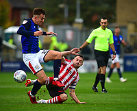 Lincoln City's Lee Frecklington vies for possession with  Crewe Alexandra's Ryan Wintle<br /> <br /> Photographer Andrew Vaughan/CameraSport<br /> <br /> The EFL Sky Bet League Two - Lincoln City v Crewe Alexandra - Saturday 6th October 2018 - Sincil Bank - Lincoln<br /> <br /> World Copyright &copy; 2018 CameraSport. All rights reserved. 43 Linden Ave. Countesthorpe. Leicester. England. LE8 5PG - Tel: +44 (0) 116 277 4147 - admin@camerasport.com - www.camerasport.com