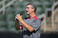 Wes Lewis sings the National Anthem prior to the South Atlantic League game between the Delmarva Shorebirds and the Kannapolis Intimidators at Kannapolis Intimidators Stadium on July 2, 2017 in Kannapolis, North Carolina.  The Shorebirds defeated the Intimidators 5-4.  (Brian Westerholt/Four Seam Images)