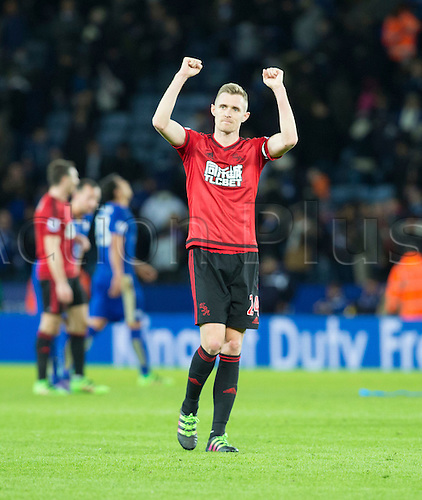 01.03.2016. King Power Stadium, Leicester, England. Barclays Premier League. Leicester versus West Bromwich Albion. West Bromwich Albion midfielder Darren Fletcher thanks their supporters at the end of the match.