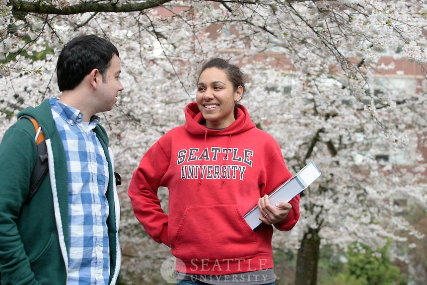 04072011 - Seattle University, Campus Spring shots, Jenna Herman, Lucas Ruiz, Cherry Blossoms