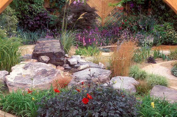 Stones used in the landscape backyard plant flower stock photography - Garden design using grasses ...