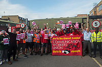CWU organise a gate meeting at the Hornsey Road sorting office in North London prior to a ballot over strike action. 10-9-19