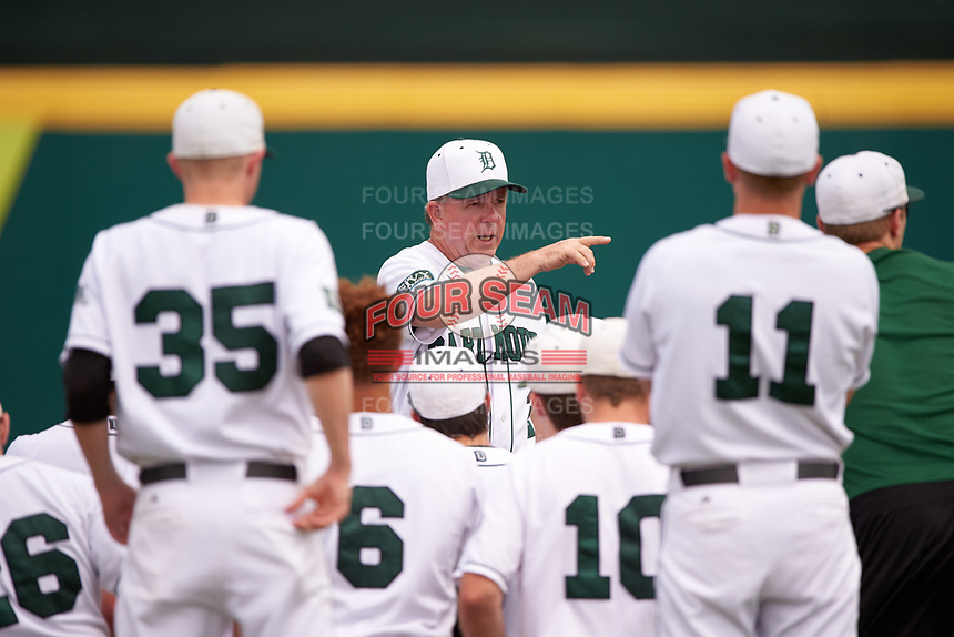 Dartmouth Big Green head coach Bob Whalen (2) talks with his team after a game against the South Florida Bulls on March 27, 2016 at USF Baseball Stadium in Tampa, Florida.  South Florida defeated Dartmouth 4-0.  (Mike Janes/Four Seam Images)