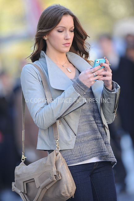 WWW.ACEPIXS.COM . . . . . .October 11, 2012, New York City....Katie Cassidy on the set of Gossip Girl on October 11, 2012 in New York City....Please byline: KRISTIN CALLAHAN - ACEPIXS.COM.. . . . . . ..Ace Pictures, Inc: ..tel: (212) 243 8787 or (646) 769 0430..e-mail: info@acepixs.com..web: http://www.acepixs.com .