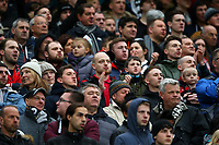 Swansea City fans look on during the Premier League match between Manchester United and Swansea City at the Old Trafford, Manchester, England, UK. Saturday 31 March 2018