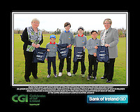 Alan Park GC team with Bank of Ireland Officials Angela Callan and Heather Raney with Junior golfers from across Ulster practicing their skills at the regional finals of the Dubai Duty Free Irish Open Skills Challenge at The CAFRE Greenmount Campus in Antrim. 2/04/2016.<br /> Picture: Golffile | Fran Caffrey<br /> <br /> <br /> All photo usage must carry mandatory copyright credit (© Golffile | Fran Caffrey)