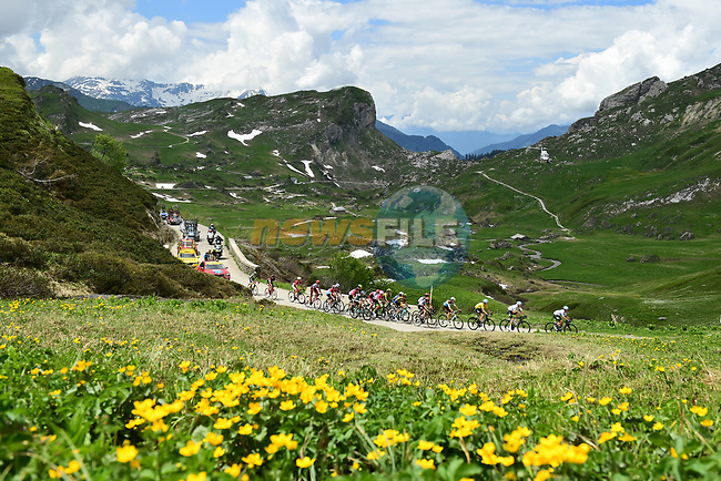 The peleton in action during Stage 6 of the 2018 Criterium du Dauphine 2018 running 110km from Frontenex to La Rosiere, France. 9th June 2018.<br /> Picture: ASO/Alex Broadway | Cyclefile<br /> <br /> <br /> All photos usage must carry mandatory copyright credit (© Cyclefile | ASO/Alex Broadway)