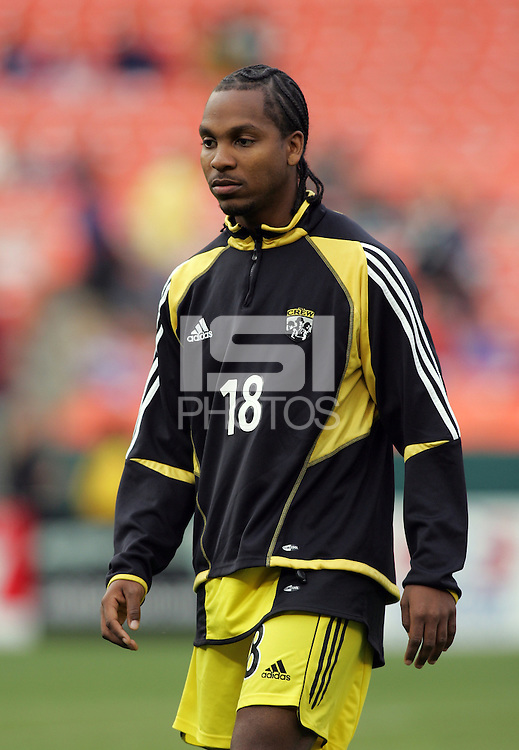 7 May 2005.  Columbus Crew forward Marcus Storey (18) warms up before the start of the game at RFK Stadium in Washington, DC.