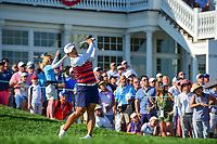 Amy Yang (KOR) watches her tee shot on 16 during Sunday's final round of the 72nd U.S. Women's Open Championship, at Trump National Golf Club, Bedminster, New Jersey. 7/16/2017.<br /> Picture: Golffile | Ken Murray<br /> <br /> <br /> All photo usage must carry mandatory copyright credit (&copy; Golffile | Ken Murray)