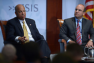 Washington, DC - October 9, 2014: U.S. Secretary of Homeland Security, Jeh Johnson, responds to an audience question about border security and immigration at the Center for Strategic and International Studies in the District of Columbia, October 9, 2014, as CSIS Senior Advisor Juan Zarate looks on.  (Photo by Don Baxter/Media Images International)